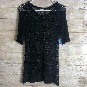 Free people Intimately crochet 3/4 sleeves top